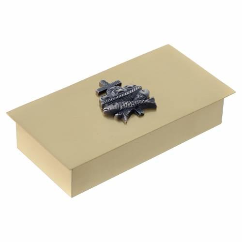 Scatola chiavi tabernacolo in ottone pesci pani croce Molina s3