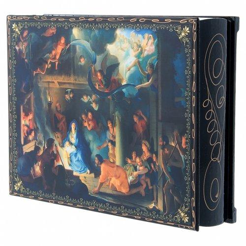 Scatola decoupage russa cartapesta La Nascita di Gesù Cristo e Adorazione dei Magi 22X16 cm s2