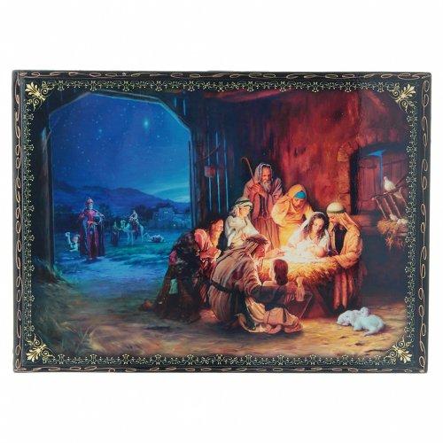 Scatola decoupage russa cartapesta La Nascita di Gesù Cristo e Adorazione dei Magi 22X16 cm s1