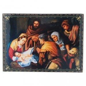 Scatola russa decoupage cartapesta La Nascita di Cristo 22X16 cm s1