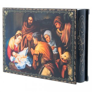 Scatola russa decoupage cartapesta La Nascita di Cristo 22X16 cm s2