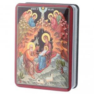 Scatola russa Papier-mâché Sacra Famiglia Fedoskino style 15x11 s2