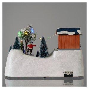 Scena natalizia musica albero verde in movimento 20x30x15 cm s5