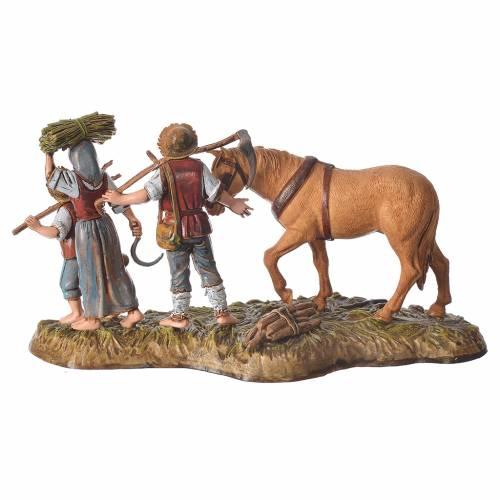Scene with farmers with horse, nativity figurines, 10cm Moranduzzo s2
