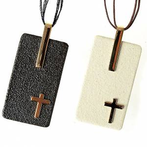 Keramik Kreuzanhänger: Schmuck-Anhaenger Gres Porzellan mit Kreuz