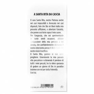 Segnalibro: Segnalibro carta perlata Santa Rita da Cascia Preghiera 15x5 cm ITA