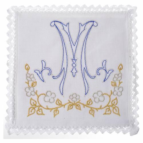Servizio da altare 100% lino simbolo mariano blu s1