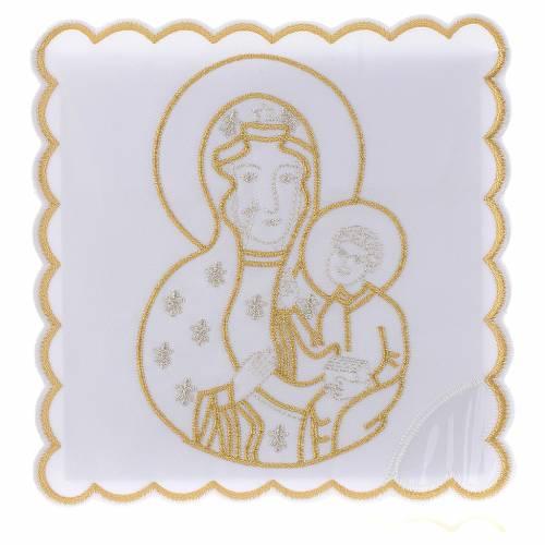 Servizio da altare cotone Madonna con Bimbo Gesù s1