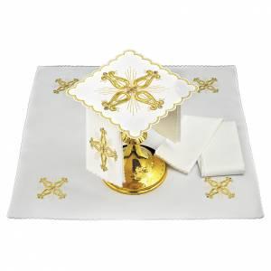 Servizio da altare lino croce dorata barocca con fiore centrale s1