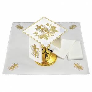 Servizio da altare lino grappoli uva croce ricamo dorato s1