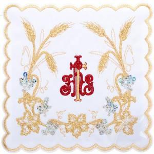 Servizi da messa e conopei: Servizio da messa 4pz. simbolo IHS rosso e spighe dorate