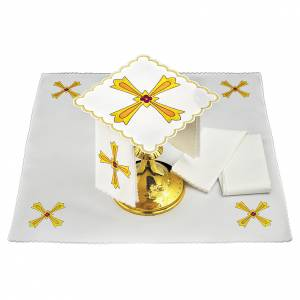 Set linge autel coton croix jaune orange fleur rouge s1