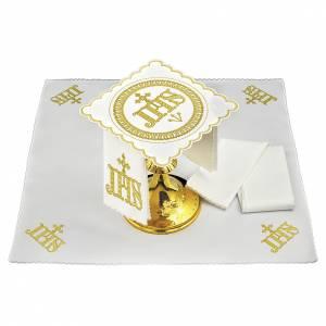 Set linge autel coton symbole IHS position centrale et broderie dorée s1