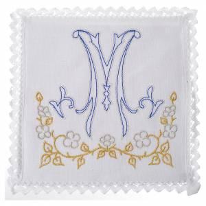 Set linge d'autel avec symbole marial bleu 100% lin s1