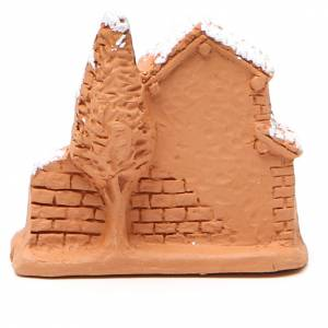Shed and miniature Nativity terracotta and snow 6x7x3cm s4