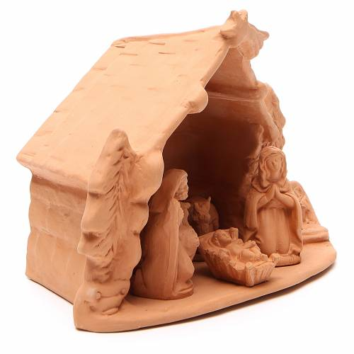 Shed and Nativity natural terracotta 20x24x14cm s3