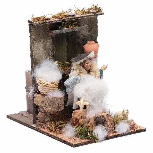 Sheep shearer animated figurine for Neapolitan Nativity, 10cm s3