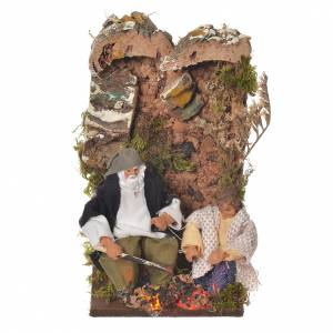 Shepherd with child, 8cm animated nativity with 2 LEDs s1