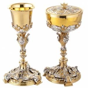 Metal Chalices Ciborium Patens: Silver chalice and ciborium annunciation, crucifixion, nativity