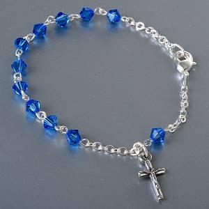 Silver bracelets: Silver decade rosary bracelet with Swarovski