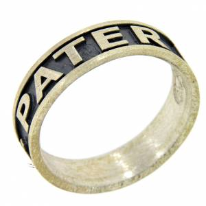 Prayer rings: Silver ring Pater Noster AMEN burnished