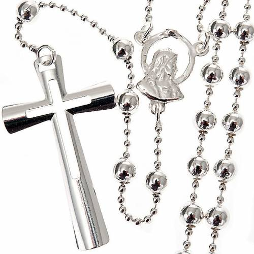 Silver rosary necklace, silver 925 4 mm beads s1