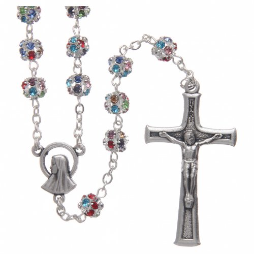 Silver rosary with strass grains multicoloured 6 mm s1