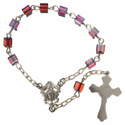 Single-decade rosary 800 silver, Swarovski square grains, fuchsi s2