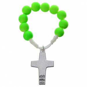 Single decade rosaries: Single decade rosary beads in green fimo, Pope Francis