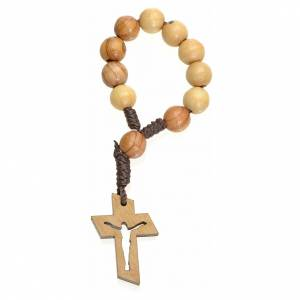 Single decade rosary beads in Holy Land olive wood, Resurrected s2