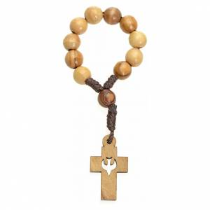 Single decade rosaries: Single decade rosary in Holy Land olive wood, cross and dove