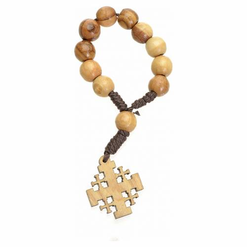 Single decade rosary in Holy Land olive wood, Jerusalem cross 2