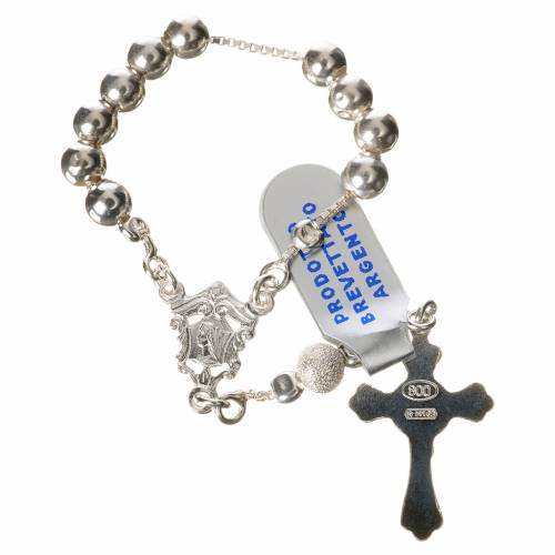 Single-decade rosary with moving grains, 800 silver 5mm s2