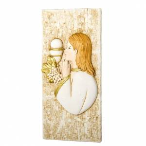 Bonbonnière: Small painting Girl First Communion rectangular shaped 5x10cm