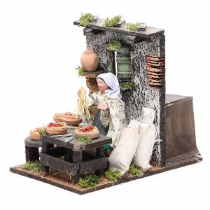 Spaghetti seller animated figurine for Neapolitan Nativity, 10cm s2