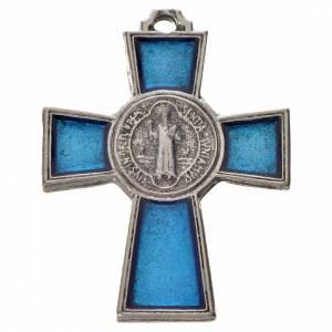 St. Benedict cross 4x3cm, in zamak and blue enamel s1