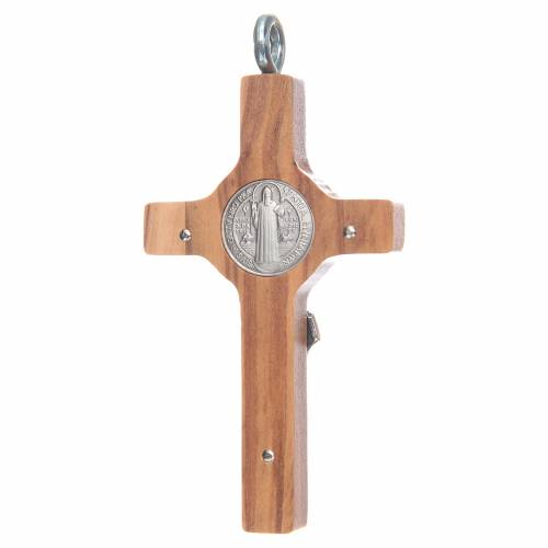 St. Benedict cross 8x4cm, sterling silver, olive wood with cord s2