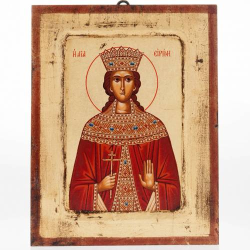 St Irene Greek icon, silk printed s1