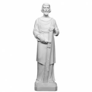 Statues en marbre reconstitué: St Joseph menuisier 80 cm marbre blanc