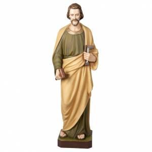 St Joseph travailleur marbre reconstitué 100cm colorée s1