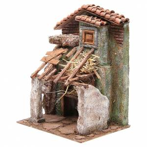 Stable with house for nativity 30x24x18cm s2