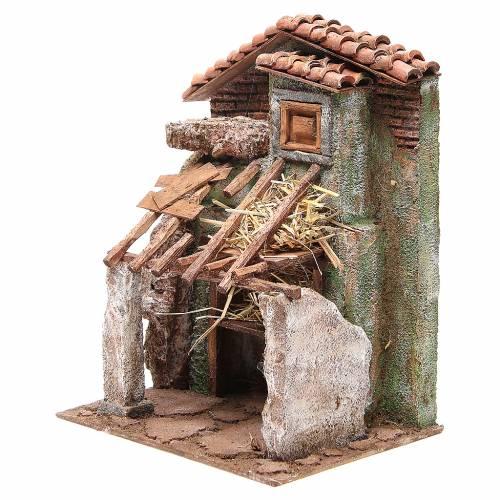 Stalla presepe con casa 30x24x18 cm s2
