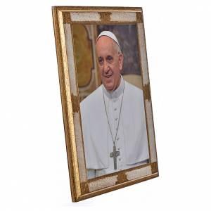 Quadri, stampe, codici miniati: Stampa su legno Papa Francesco 35x26 cm