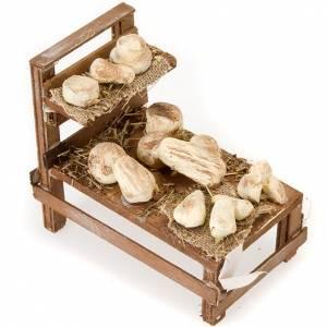 Neapolitanische Krippe: Stand mit Käse aus Holz für Krippe