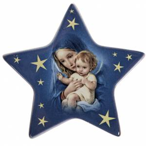 Star magnet Virgin Mary and baby Jesus terracotta s1