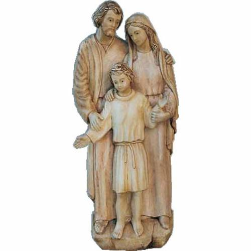 Statua della Sacra Famiglia 110x40 cm, tre quarti rilievo legno s1