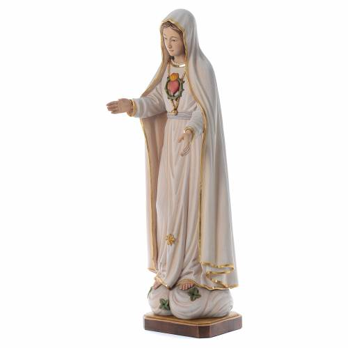 Statua Madonna di Fatima legno dipinto Val Gardena s2