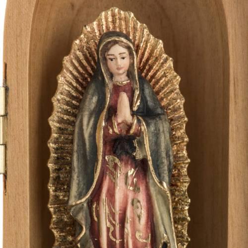 Statua Madonna di Guadalupe in nicchia legno dipinto s3