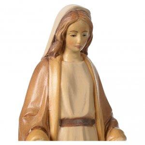 Statua Madonna Immacolata legno Valgardena diverse tonalità marrone s2