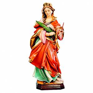 Statua Santa Orsola in legno veste rossa ramo verde s1